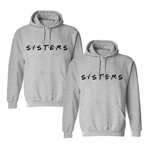 Beste Freunde Pullover für Zwei Mädchen Best Friends Hoodie BFF Pullover Sister Kapuzenpullover Damen Pulli Geburtstagsgeschenk 1 Stück-Grau-Sister -S