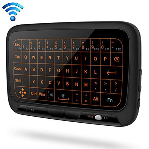 Wireless Keyboard H18 + 2,4 GHz Mini drahtlose Tastatur Voll Touchpad mit dem 3-stufiger Einstellbare Hintergrundbeleuchtung (Schwarz) xiao1230