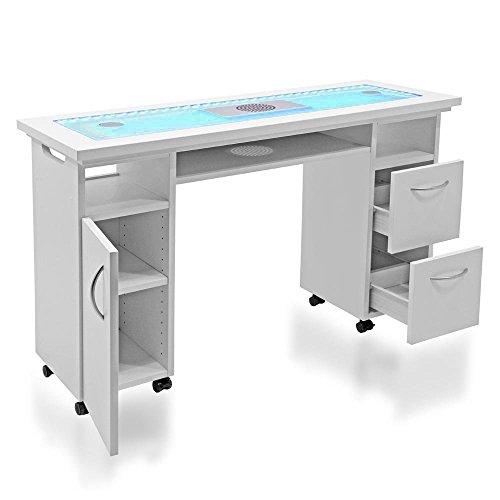 Tavolo professionale per ricostruzione unghie Design DR07 con pianale in vetro, led colorati regolabili, aspiratore integrato