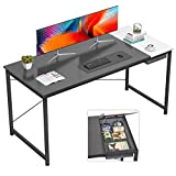 Foxemart 55 Inch Computer Desks Modern Sturdy Writing Desk, Simple Laptop Work Study Home Office Table with Drawer, Easy Assembly, Black and White