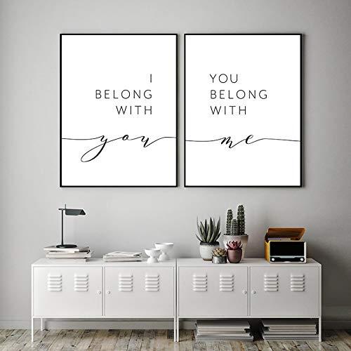 NFXOC Stampa Artistica Pittura su Tela Amore Famiglia Linea di Disegno Poster Minimalista Astratto Appartengo a Te per la Decorazione del Soggiorno (40x60 cm) 2 Pezzi Senza Cornice