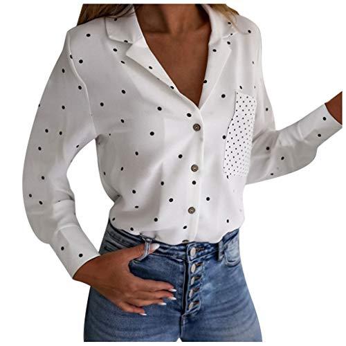 Damen Bluse mit Punkten | Langarm Armen | Blusenshirt | Elegant - Shirt Frauen Mode...