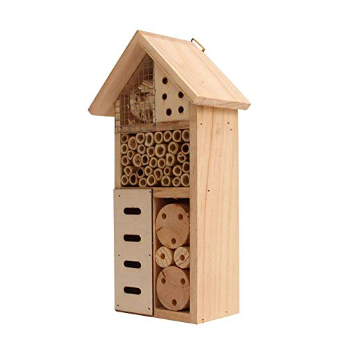Insect House, Wooden Insect Hotel, Wooden Bug House, Natural Wood Insect House, Garden Shelter Bamboo Nesting Habitat for Outdoor Garden Yard Bee Butterfly Ladybug