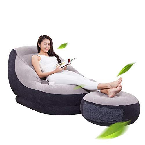 N / C Sofá, sofá Plegable, sofá Inflable, Terciopelo Vegetal, Suave y cómodo, con Orificio para Taza, Apto para césped Interior y Exterior