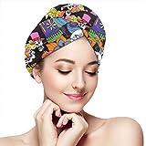 Mexican Polyester Sugar Skull Microfiber Hair Towel Wrap Quick Dry Hair Wrap Cap