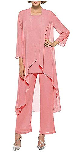 Women's Chiffon Pants Suits 3 Pieces Mother of The Bride Wedding Party Outfit Evening Dress Coral US2