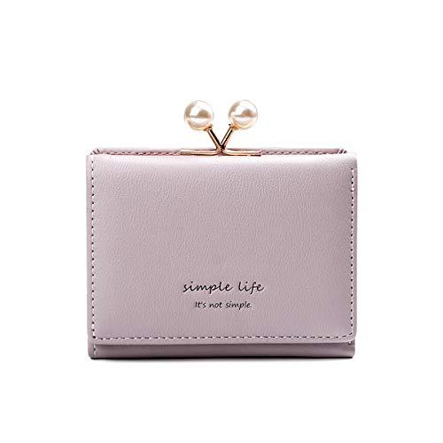 NICOLE & DORIS Monedero para niñas Billetera para Mujer Corto Monedero Precioso Monedero pequeño para Regalo Violeta