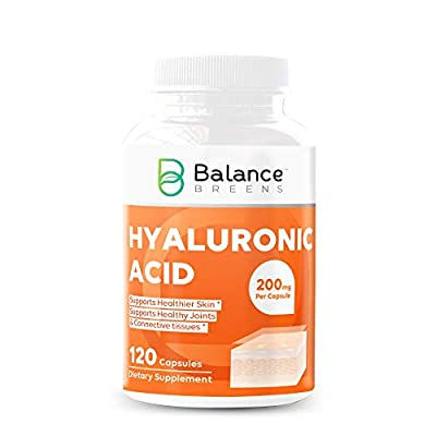 Balance Breens Hyaluronic Acid 200 mg 120 High Potency Capsules (Non-GMO, Gluten Free) - Support Healthy Joints and Connective Tissue - Promotes Youthful Healthy Skin