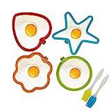 KATOOM Stampo Pancake,4 Pezzi Muffa dell'uovo Fritto Cuore Rotondo Stelle Fiori Materiale siliconico Sicurezza Carino e Pratico Fare Cibo Interessante e 2 Pezzi spazzole