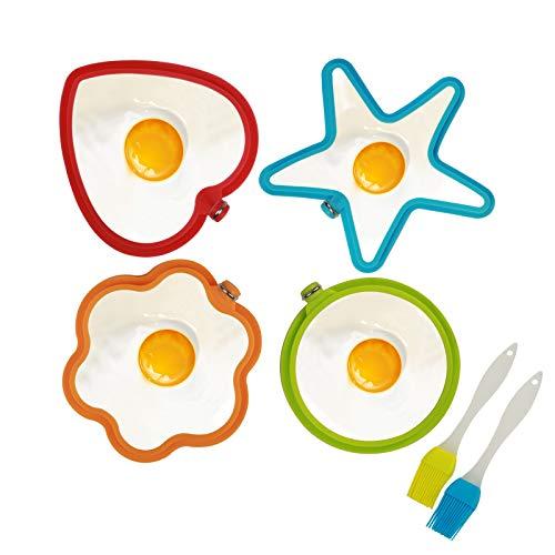 KATOOM Molde de Huevo Frito 4pcs Herramienta de Tortilla para Freír Huevos de Silicona,Coloridos,Pentagrama, Flores, Corazones, Forma de Círculo a Cocineros,Ama de Casa,Estudiantes Universitarios