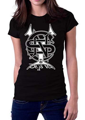 About Crosby Stills Nash Young CSN CSNY Neil Deja Vu Band Logo Women's T Shirt T-Shirts à Manches Courtes(Large)
