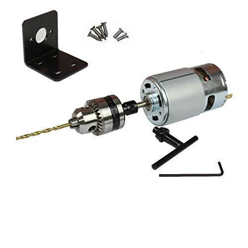 Abovehill 775 DC Motor Set 12V-24V 6000-12000RPM Ball Bearing Motor for Electrical Tools +Motor Bracket +Drill Chuck+Bushing+4mm Drill