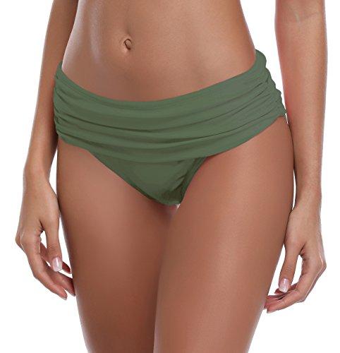 SHEKINI Damen Faltig Bikinislip Slip Badeshorts Badeslip Bottom Unterteil Panty Höschen Hipster Brazilian Kurze Hose Rüsche Design (S, Olivgrün)