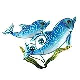 HONGLAND, Scultura Decorativa da Parete in Metallo a Forma di Delfino con alghe Marine per...