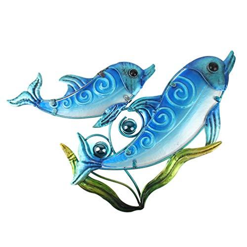 HONGLAND Delfín de Metal con Algas Marinas decoración de Pared Interior Arte Escultura Colgante Vidrio Decoraciones para el hogar jardín recámara