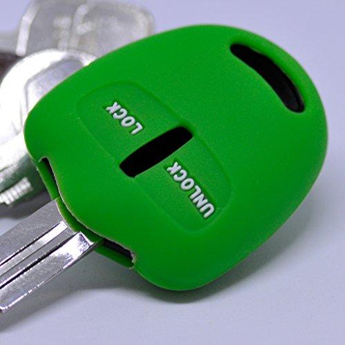 Soft Case Schutz Hülle Auto Schlüssel für Mitsubishi Lancer ASX Outback Pajero Sports 2 Tasten/Farbe Grün