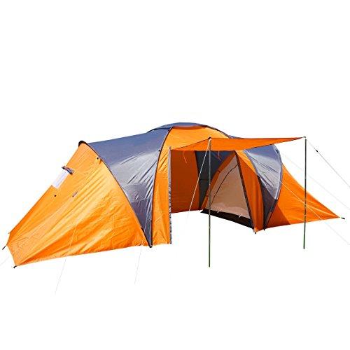 Tente de Camping Loksa, 6 Personnes, Bivouac/Igloo, Tente pour Festival ~ Orange