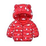 WEXCV Baby Kinder Mädchen Junge Baumwolljacke Mit Kapuze Bärendruck Kinder Winterjacke Kapuzenmantel Kapuzenjacke Trenchcoat Warm Kinder Wintermäntel Kleidung (0-3Jahre)