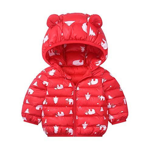 Pwtchenty Kleinkind Kinder Jungen Mädchen Wintermäntel Winter Cartoon Reißverschluss Kapuze Dicker Mantel Outwear Jacke mit Süß Bären Ohr für 6M-5 Jahre