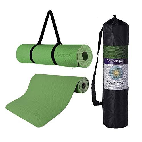 esterilla deporte, esterilla yoga Wueps, incluye correa de hombro y bolsa de transporte, ideal para realizar deporte en casa, yoga mat, esterilla yoga antideslizante, (Color Verde Pasto y Gris Claro)