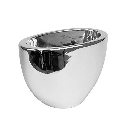 Polnix - Portavaso in ceramica, altezza 15,5 cm, colore: Argento lucido