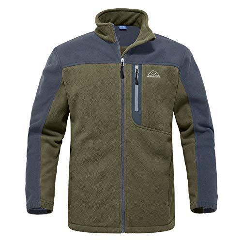 YSENTO Herren Outdoor Fleecejacke Full Zip Winddicht Leicht Atmungsaktiv Warme Polar Angeln Arbeit Wander Jacke mit Reißverschlusstaschen(Grün,L)