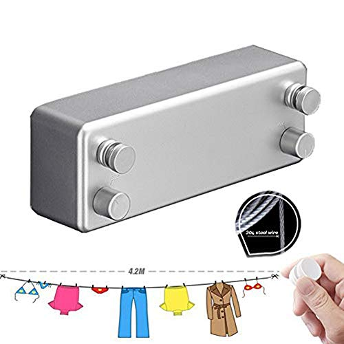 Nwhw Retráctil De La Ropa Interior De Pared Magia Secado Balcón Rack Baño Invisible Tendedero, Línea De Lavado Retráctil para Exteriores 4.2m. Silver-Double Rope