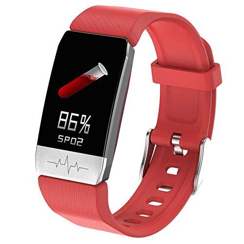 GPS SmartWatch, ECG Aptitud rastreadores con la medición de la Temperatura Corporal y medirse la presión Arterial, medidor de Pulso Incorporado G Sensor y,Rojo Red