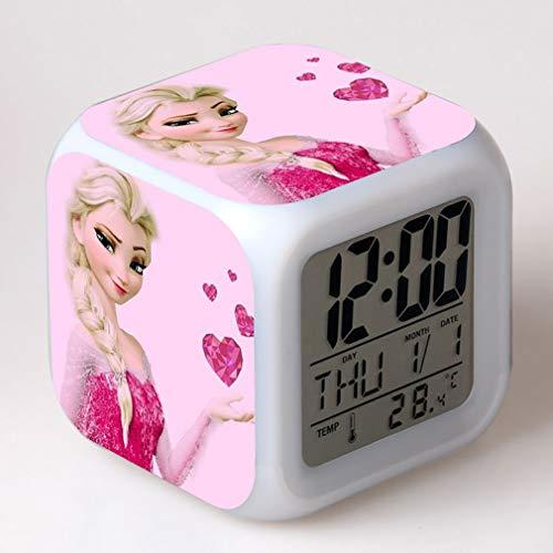 SXWY La Reine des Neiges Réveil numérique, lumières colorées réveil de l'humeur Horloge carrée Disponible Chargement USB adapté aux Cadeaux spéciaux pour Enfants garçons et Filles (06)