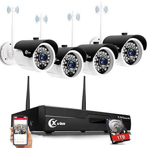 XVIM H.264 Wireless Security Cameras System, 4CH 1080P HD NVR 4pcs 720P Wireless Outdoor Indoor Waterproof Surveillance Cameras 85FT Night Vision (with 1TB HDD)