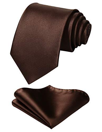 HISDERN Herren Solide Braune Krawatte Taschentuch Hochzeitsfeier Klassische Krawatte & Einstecktuch Set