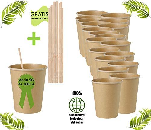 Bio Einweg Becher Einmalbecher 50Stück- 200ml -Wegwerfbecher Getränkebecher Papierbecher mit PLA Beschichtung Coffe to go Pappbecher braun ungebleicht (200ml / 8oz (50Stück))