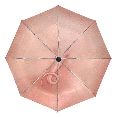 Regenschirm anpassen 3 Falten Tier Schweineschwanz Winddicht Auto Öffnen Schließen Leichte Anti-UV