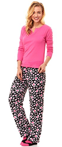 Women's Plush Micro Fleece Long Sleeve Lounge Pajama Sleepwear Set W/ Socks (Large, Multicolored Heart)