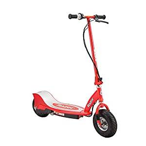 Razor E300 Durable Adult & Teen Ride-On 24V Motorized High-Torque Power Electric Scooter, Speeds up to 15 MPH with Brakes and 9-Inch Pneumatic Tires for Ages 13+, Red