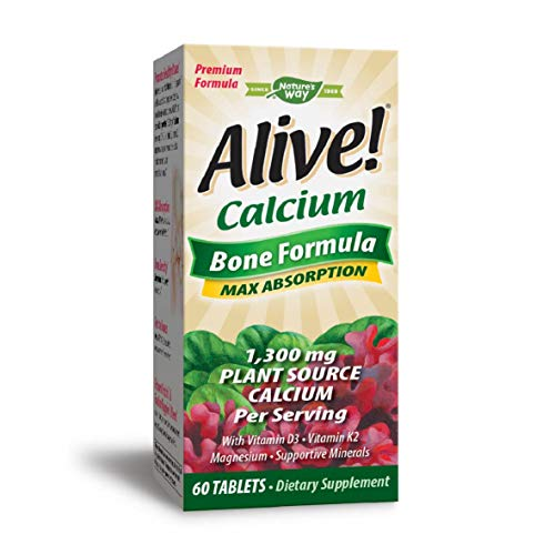 Nature's Way Alive!® Calcium Bone Formula Supplement (1,000mg per serving), 60 Tablets (Packaging May Vary)