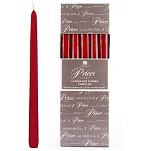 Prices Venetian 25 cm middag ljus inslagen låda med 10 – röd