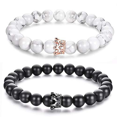 Lv.unique Paar Armband Naturstein Perlen Armband Armband mit CZ Krone und Königin Partner Armband schwarz matt Achat Weiß Howlith 8 mm Perlen Armband (Black + White)
