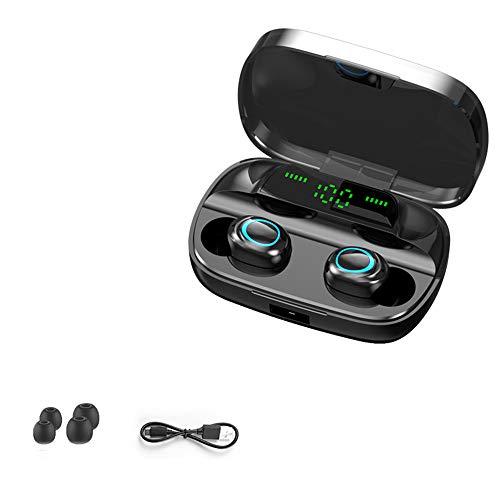 LIMTT Draadloze Koptelefoon, Bluetooth 5.0 Draadloze Koptelefoon, 300 Uur Continue Stand-by, Stereogeluid In-ear Bluetooth-Oordopjes Met Microfoon Met LCD Digitaal Display Zwart