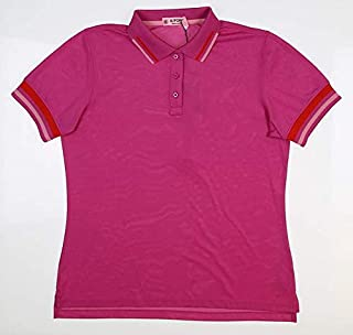 New Womens G/Fore Tipped Pique Golf Polo Large L Rose Violet G4LS19K30