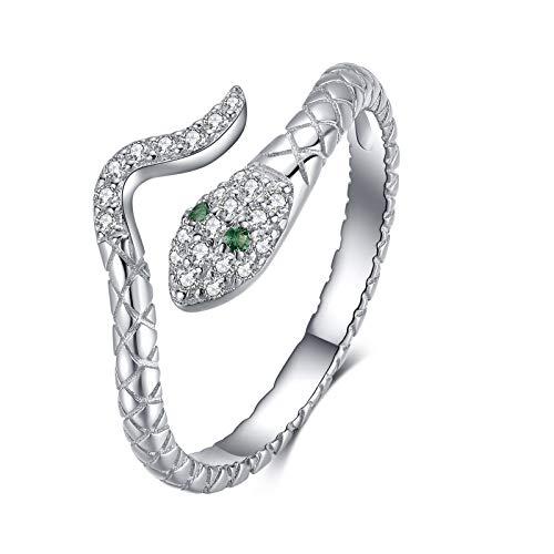 Qings Anillo Ajustable Abiertos Serpiente Plata de Ley 925 Anillo Vintage Retro para Mujer Hombres Snake Ring Anillos Dedo con Circonitas Verde