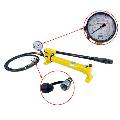 Cozyel CP-700 Hydraulic Manual Pump 2 Stage 900cc 10000 psi for Lifting Jacking Bending Straightening Stretching Punching Reveting Tool Light Compact(with Oil Gauge)