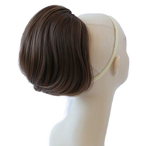 PRETTYSHOP BUN Up Do Hair Piece Hair Ribbon Ponytail Extensions Draw String Scrunchy Scrunchie Wavy Messy Medium brown # 10T12 h406