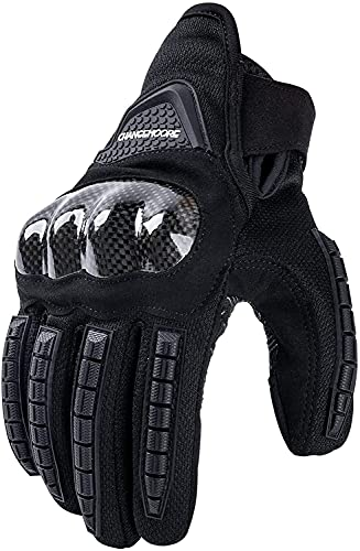 Sommer Motorradhandschuhe Atmungsaktive Motorrad Handschuhe Herren Damen Vollfinger Knöchelschutzpolster Touchscreen Schwarz XL