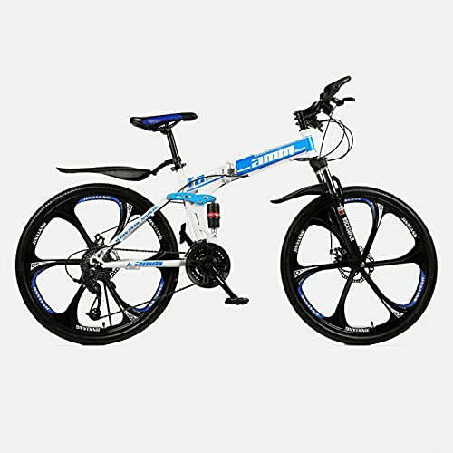 LHQ-HQ Bicicleta De Montaña Plegable para Adultos, Rueda De 26', Suspensión Doble, 21 Velocidades, Freno De Disco Doble, Adecuada para Una Altura De 5,2 A 6 Pies,D