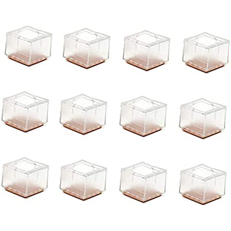 Maydahui 12PCS Square Chair Leg Floors Protector Silicone Caps Rubber Covers for Hardwood Outdoors Furniture Quadrate Feet Pads Size 1-6//9 to 1-8//9 Inches