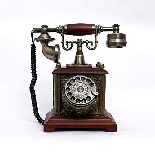 HJHJK Telefono Fijo Vintage Sobremesa, Télefono Retro/telefono Fijo Vintage de Madera y Metal con Disco de Marcar y Campana Metálica Casa Mesa OficinaTeléfonos analógicos