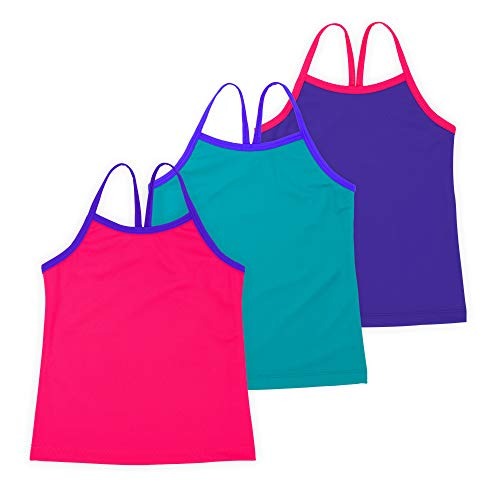 Lucky & Me Ella Girls Dance Tank Top, Gymnastics & Dancewear, 3-Pack, Rosey Posey