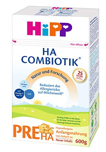 Hipp Pre HA Combiotik, Lait initial hypoallergénique - De naissance, 4 pièces (4 x 600 g)