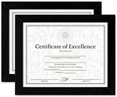** Document/Certificate Frames, Wood, 8-1/2 x 11, Black, Set of Two **